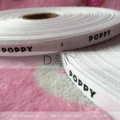 Nhãn in cotton nền trắng Shop Poppy